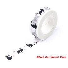 1.5cm*10m Black Cat Washi Tape DIY Decoration Scrapbooking Adhesive Masking Tape School Supplies Free Shipping