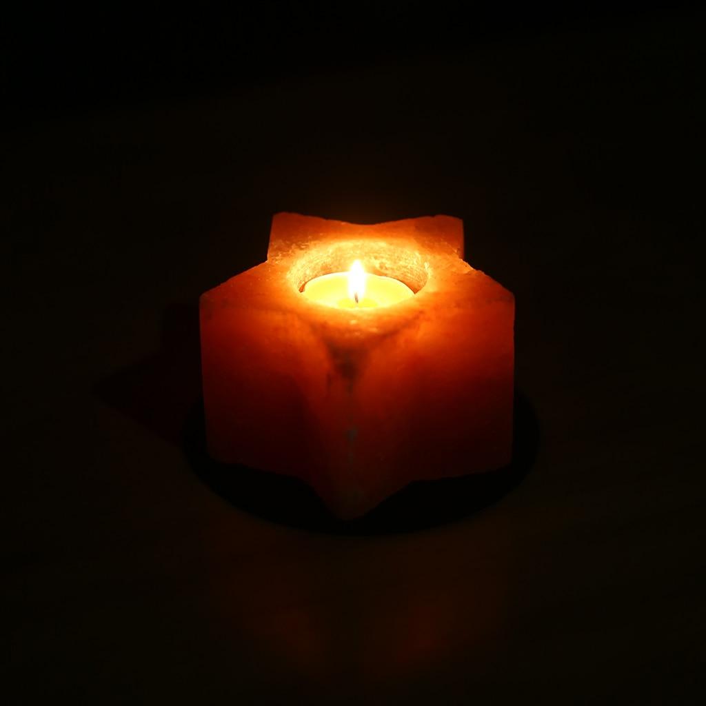 Natural Himalayan Crystal Handmade Candle Holder Star Candlestick Salt Lamp for Home Wedding Decoration