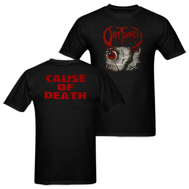 20f673821ea7 Obituary Cause of Death Inked in blood T Shirt Death Metal Black Metal  Heavy Metal Band Tee euro sizeS-XXXL