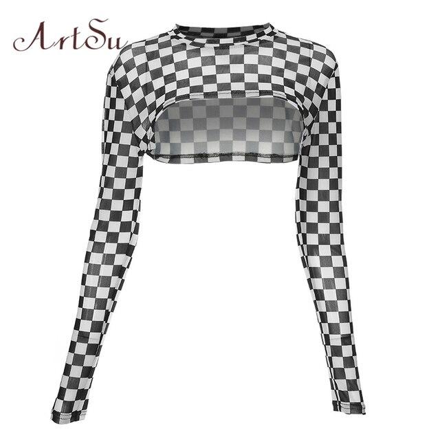 b9294c534cc ArtSu Black White Plaid Long Sleeve Crop Top Summer Short T-shirt Women  Sexy Tee
