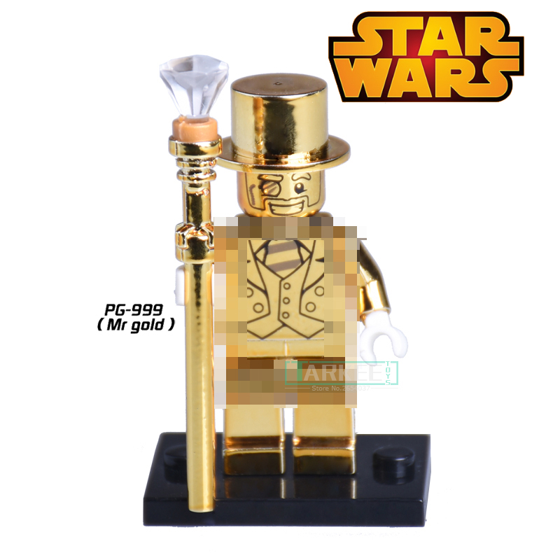 PG999 Mr Gold Building Blocks Limited Edition Chrom Golden igures Assemble Penguin Figure kids Bricks Education Learning Toys каталог mr penguin