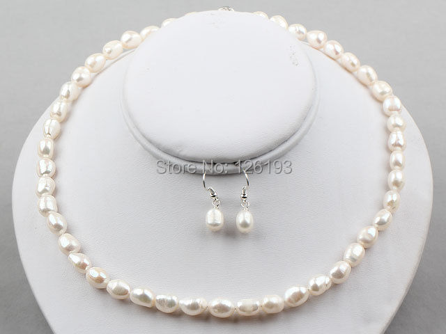 Real Pearl Jewelry Sets Nice 8 9mm Baroque Necklace Earrings Set White Colour