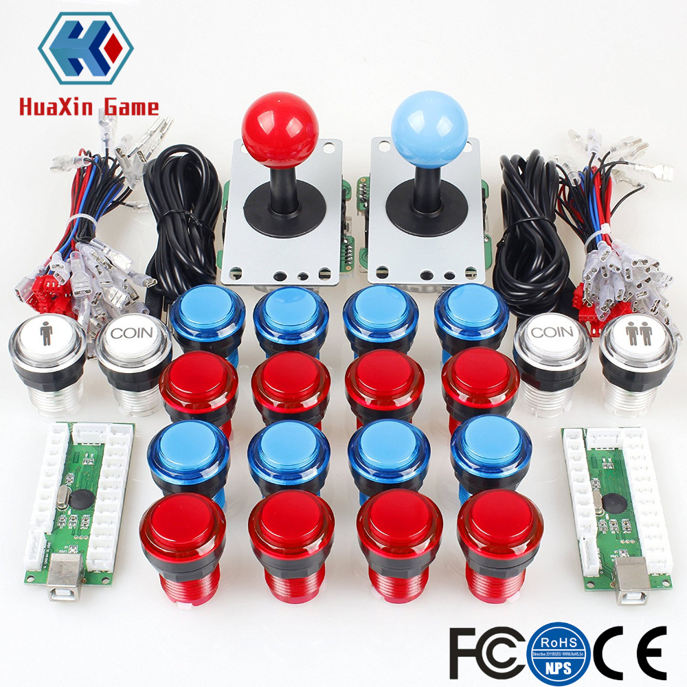 Arcade DIY Kit Part 8 Way Joystick +16 x LED Illuminated Push Button + 2 Player + Coin Buttons for Raspberry Pi 3B Model Project new led arcade game diy parts 2 x 5pin 5v 2 4 8 way led illuminated joystick 16 x led illuminated push button for mame game