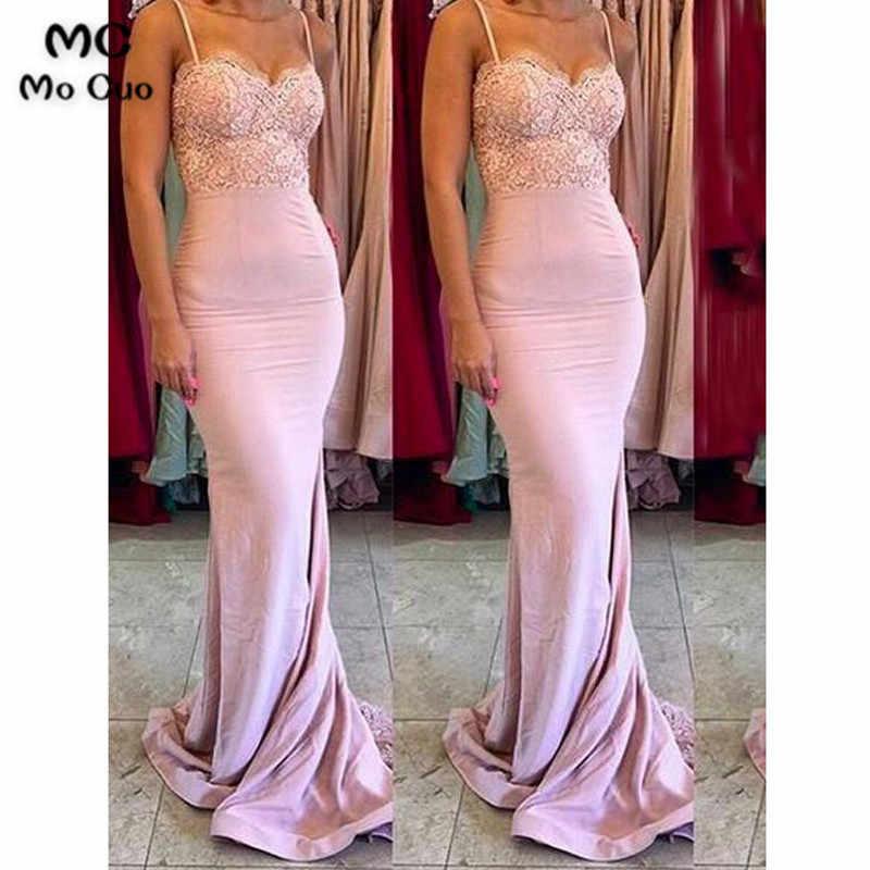 ee142f376b 2018 Sexy Mermaid Bridesmaid Dresses Long with Appliques Spaghetti Straps  Wedding Party Dress Elastic Satin Bridesmaid Dress