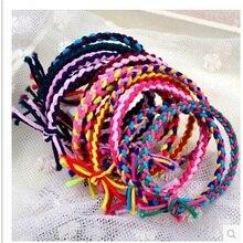 10 шт./лот, трехцветная ручная вязка, аксессуары для волос для женщин, повязка на голову, резинки для волос для девочек, повязка для волос для детей