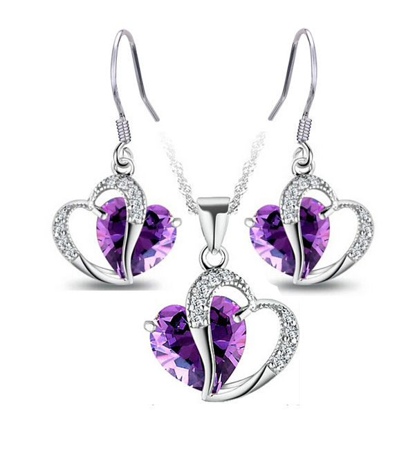 Wholesale (10 sets/lot) Double Heart Jewelry sets Zirconia sets TOP QUALITY necklaces + earrings Free Shopping