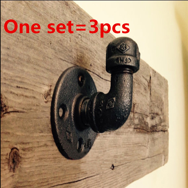 3pcs Industrial Clothes Rack Retro Style Pipe Wall Hooks