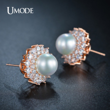 UMODE Simulated Pearl Jewelry Rose Gold / Rhodium plated Earrings With Tiny AAA CZ  Stud Earrings For Women AUE0161
