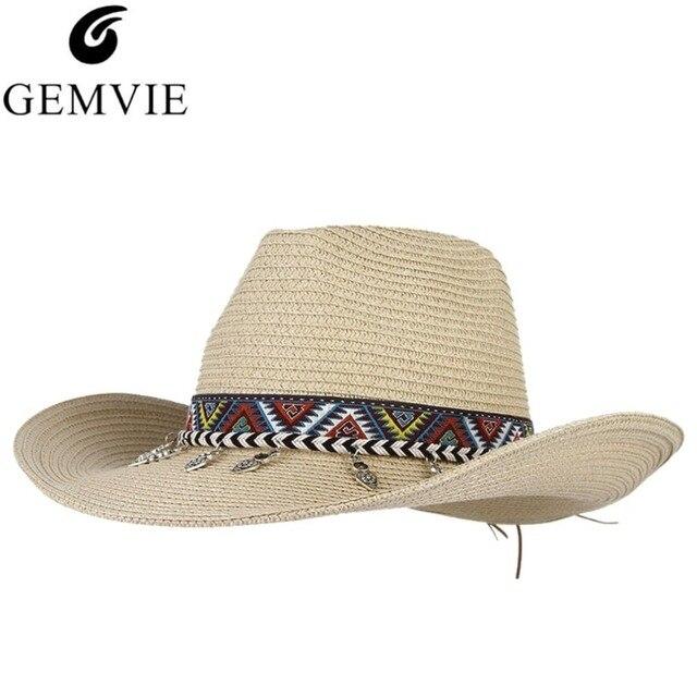 5a820b90a15 Ethnic Western Cowboy Hat With Alloy Tassel Embroidery Belt Large Brim Sun  Hat Beach Summer Straw