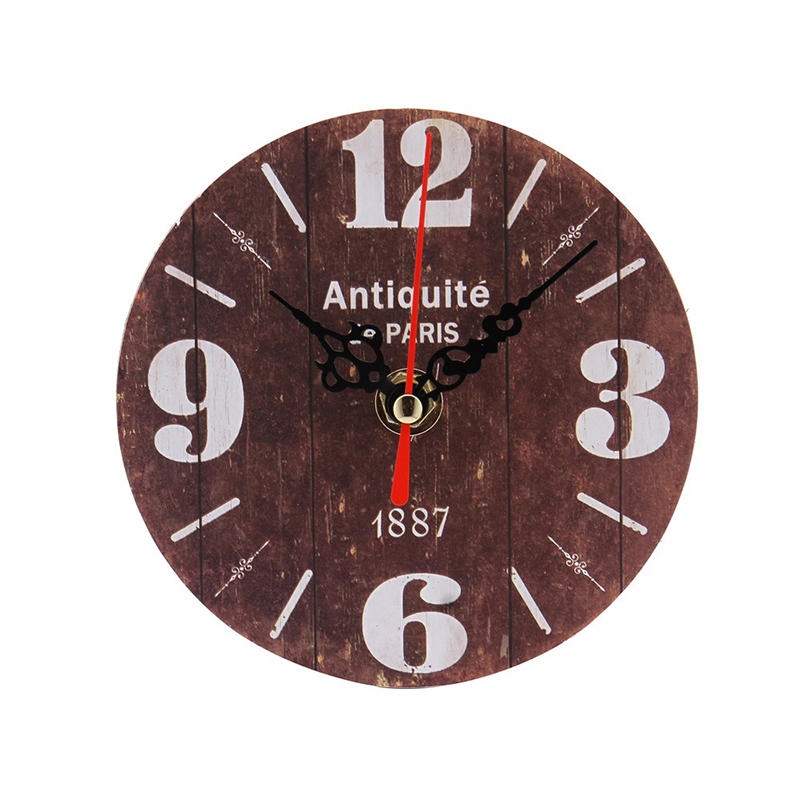 Retro European Circular Wooden Clock Vintage Rustic Shabby Office Cafe Decor