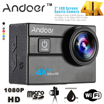 "Andoer WiFi 4K Camera Ultra HD 1080P Action Sports Camera 2.0"" LCD 16MP 4X Zoom 173 Degree Wide-Lens Mni Camera DV"