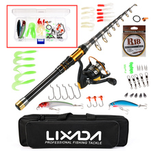 Lixada Telescopic Fishing Rod Reel Combo Full Kit 1.5m-3m Spinning Fishing Reel Pole Gear Set With Lures Line In Bag Pesca