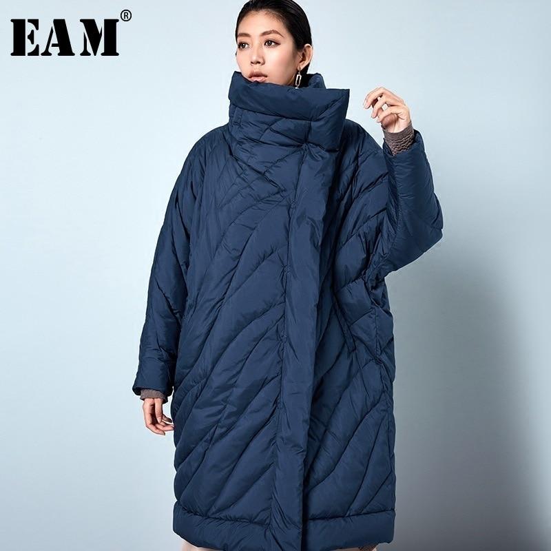 [EAM] 2019 Nouveau Printemps Pleine Manches Épais Col Roulé Col Lâche Garder Au Chaud Long Down Veste Femmes De Mode Marée OB065