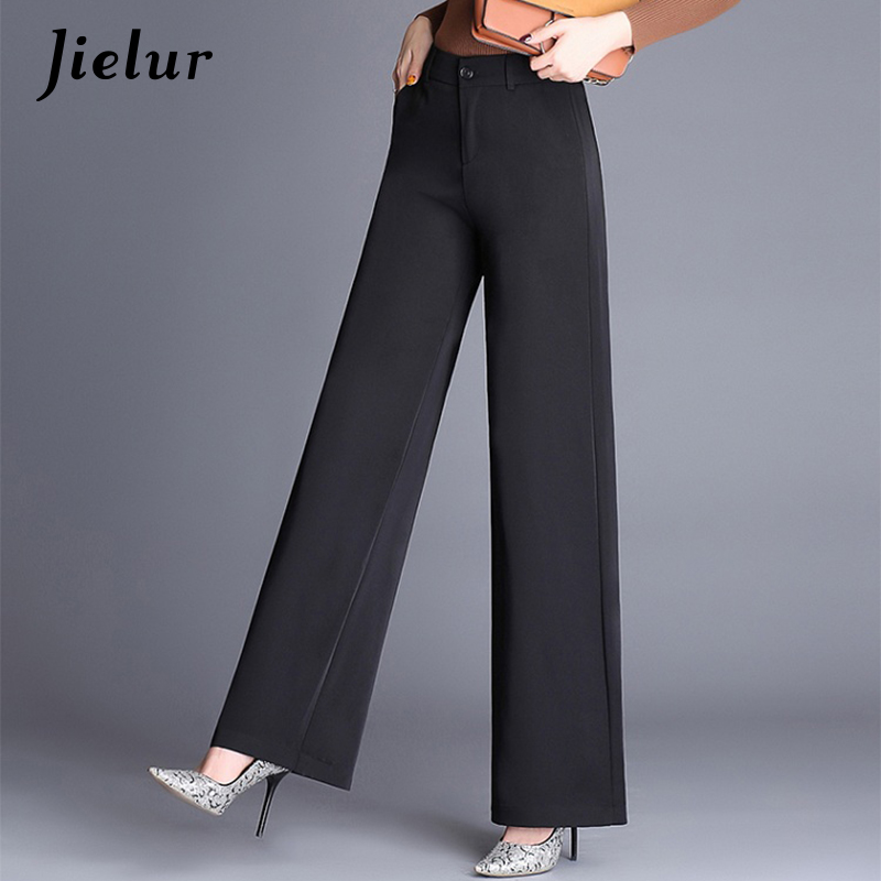 Jielur Fashion Elegant Lady Autumn   Wide     Leg     Pants   Women High Waist Formal Loose Slim OL black Suit   Pants   Oversized Trousers