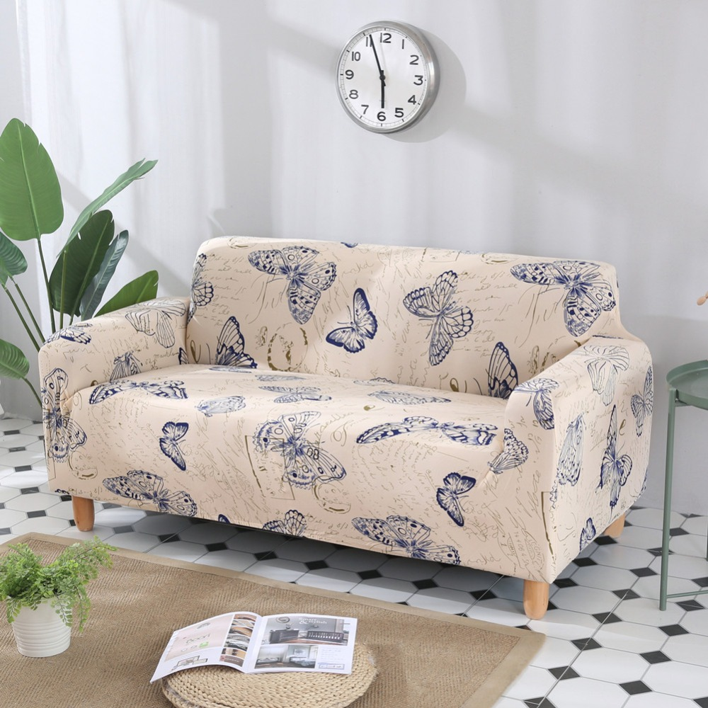 Butterfly Pattern Print Stretch Sectional Armchair Seat Cover Sofa Covers Polyester fabric Soft Slipcovers Elastic Couch Cover