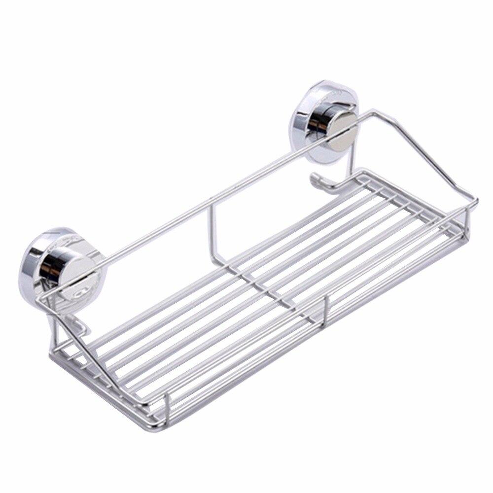 Stainless steel shelving Suction Shower Basket Dual Sucker Bathroom Shelf Washing Room/Kitchen Corner Basket Wall Mounted Rack