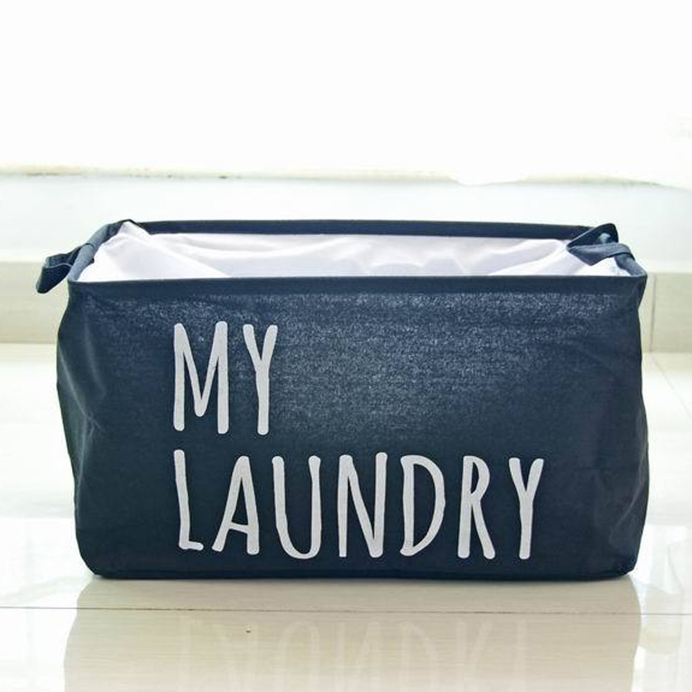 Cotton Linen Foldable Basket Waterproof Clothes Washing Laundry Basket Buckets Storage Organizer Bag Home Laundry Hamper Bucket