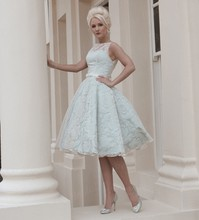 Free Shipping Europe Style Wholesale Ball Gown Knee Length Lace Wedding Dresses Short With Sash MD145