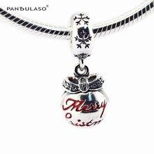 Feliz navidad chuchería rojo colgante de perlas de plata esterlina joyería de las mujeres bijouterie diy fit pandora charms pulseras de joyería fina