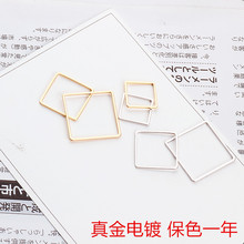 DIY handmade jewelry accessories gold plating color year square square earbob eardrop material