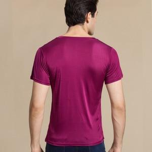 Image 3 - SuyaDream Männer grundlegende t shirt Natürliche Seide v ausschnitt Solide Kurzarm Shirts Weiß Schwarz Grau 2020 Frühling Sommer Top