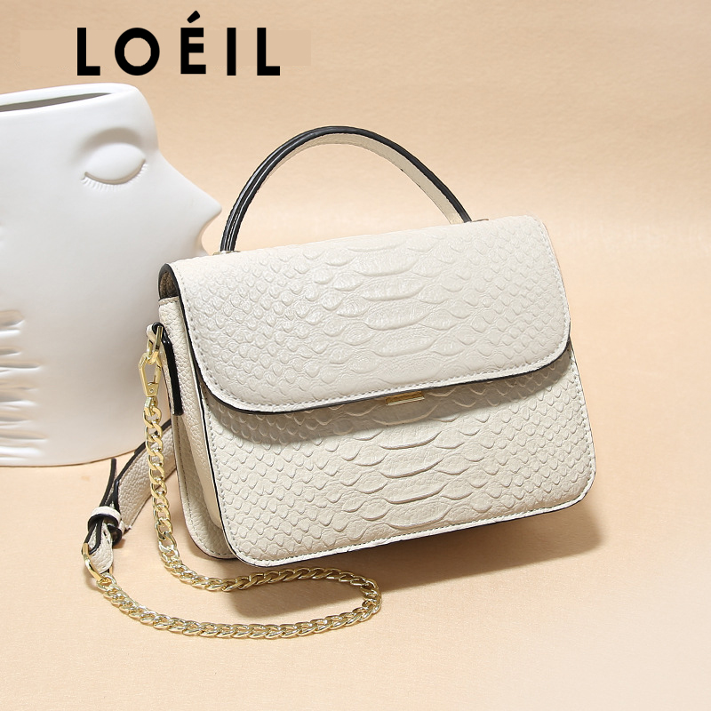 LOEIL The first layer of leather 2018 new European and American fashion Messenger bag shoulder bag ladies bag leather handbags famous brands first layer of leather woman bag autumn and winter fashion shoulder bag casual mobile messenger bag