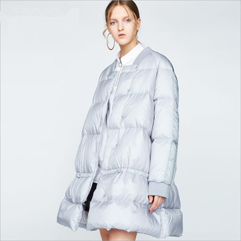 2019 winter new fashion brand White duck   down     coats   female long sleeve Adjustable Waist elegant   down   jackets gx1634 dropship
