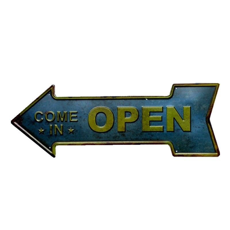 Arrow OPEN Exit Tin Sign Metal Plate Vintage Bar Coffee Pub Cafe Decorative Advertising Board Wall Art Home Decor