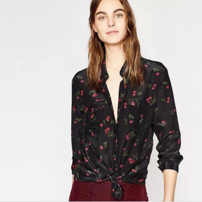 100% 실크 여성 체리 프린트 긴 소매 프론트 더블 포켓 가을 스위트 블라우스 셔츠 탑-에서블라우스 & 셔츠부터 여성 의류 의  그룹 1