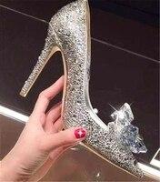 Бренд Роскошный Дизайн обувь с украшением в виде кристаллов стилет серебро острым Свадебная обувь на каблуке Свадебные со стразами женская