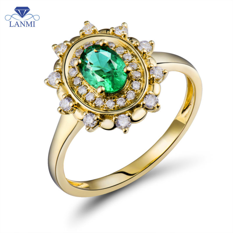 Solid 18k Yellow Gold Natural Emerald Ring Diamond Wedding Rings Natural Columbian Gemstone Jewelry WU0313 promotion 6pcs bedding set 100% cotton curtain crib bumper baby cot sets include bumpers sheet pillow cover