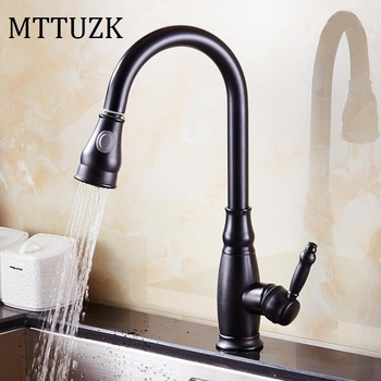 MTTUZKLuxury Oil bubbed Pull Dow Kitchen Faucet Wholesale New Arrival Solid Brass Swivel Pull Out Spray Gooseneck Sink Mixer Tap