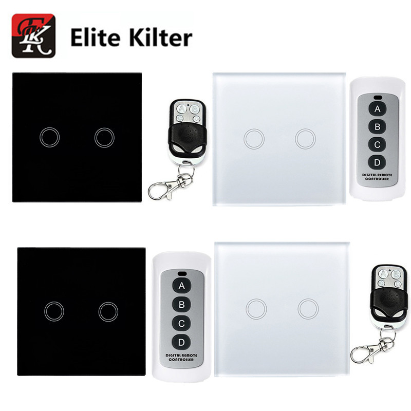 EU/UK Standard Elite Kilter Touch Switch 2 Gang 1 Way Crystal Glass Switch Panel Single FireWire touch sensing wall switch suck uk