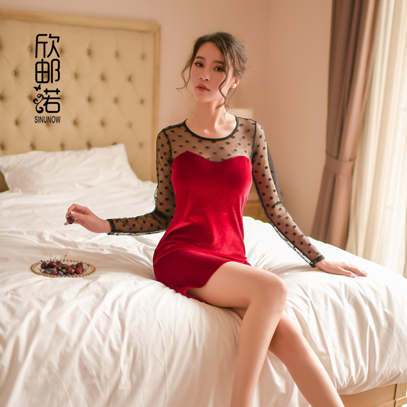 women <font><b>sexy</b></font> lace package buttocks tight <font><b>dress</b></font> Yarn splicing silver velvet Long sleeve Exotic <font><b>Dresses</b></font> <font><b>Sexy</b></font> <font><b>transparent</b></font> Nightgown image