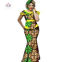 Hot Sale African Bazin Dresses Designs Dashiki Plus Size Women Africa Long Dress Party Dresses Women Set Clothing WY2711