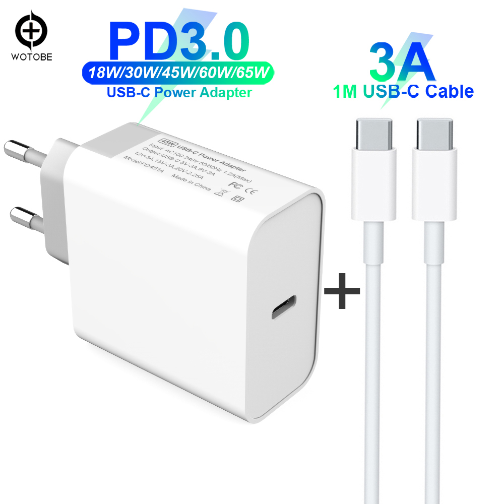 USB-C Charge Cable Power Adapter 18W 30W 45W 60W 65W PD Charger For MacBook Pro/Air iPhone/iPad Pro (Standardized USB-C cable)