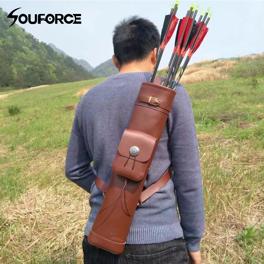 53 12cm Arrow Quiver Cow Leather Arrow Bag Brown Color for Archery Hunting Shooting