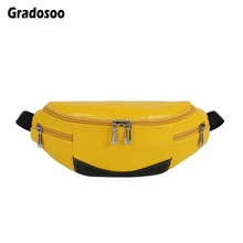 Gradosoo Panelled Chest Bags Women Waist Pack Fashion Belt Bag Female Fanny Pack Waist Bag Banana Bag Women's Purse Phone LBF576