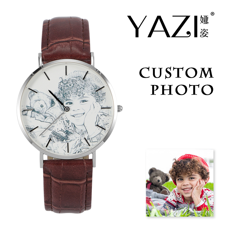 YAZI Private Watch Custom Photo Picture Print In Dial Watch For Men Crocodile Stripe Leather Band Women Watches Unique DIY Gift