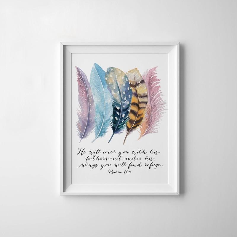 Bible Verse Birds Feathers Canvas Art Printing Home Decor (3)