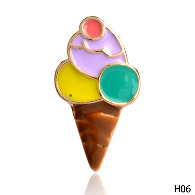 1Pcs Palm Tree Flamingo Ice Cream Popsicles Banana Coffee Cup Brooches