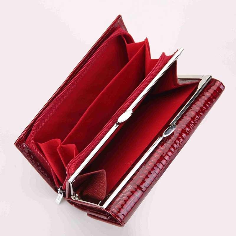 couro genuíno carteira feminina ferrolho Color : Red, black, blue, green, gray, purple