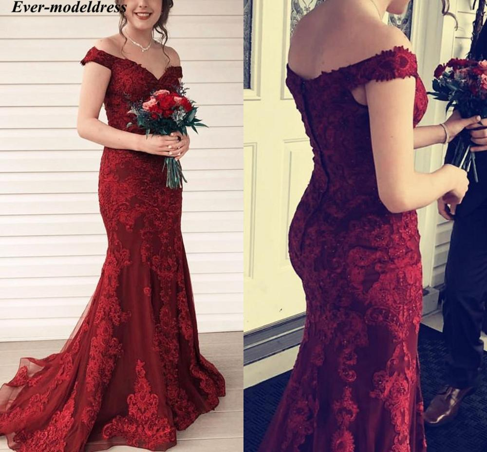Off Shoulder Burgundy   Evening     Dresses   Mermaid Lace Appliques Button Back Sweep Train Long Prom Party   Dresses   Robe de soiree