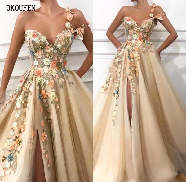 2019 longues robes de bal une épaule Tulle une ligne 3D Floral dentelle Applique Split fleurs formelle soirée robe de soirée robe de soirée