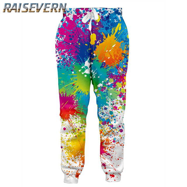 3f0952e26a90 RAISEVERN 3D Tie Dye Joggers Pants Men Women Funny Harajuku Sweatpants 2018  Trousers Jogger Pants Elastic Waist Pants Dropship