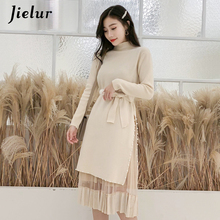 Jielur Elegant Two Pieces Knitted Dress Women New Long Sleeve OL Skinny Vestidos Mujer 2019 Fashion Chic Beautiful Winter