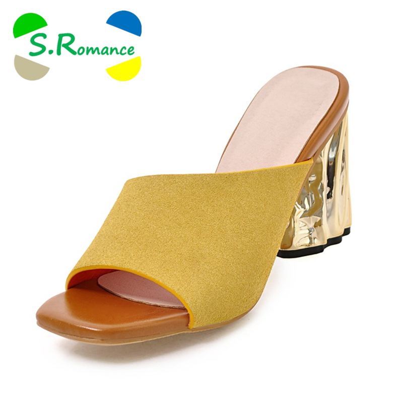 S. الرومانسية بالاضافة الى حجم 34 43 النساء الصنادل عالية الكعب أزياء الصيف مكتب الانزلاق على سيدة مضخات النساء أحذية الأصفر رمادي SS972-في كعب عالي من أحذية على  مجموعة 1