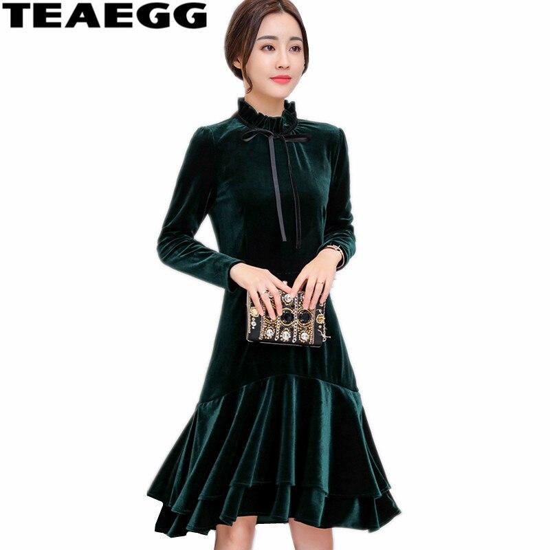 Teaegg роковой ете 2017 трапециевидной формы с длинными рукавами Вельветовое платье плюс Размеры 3XL темно-зеленое платье Для женщин Vestido Винтажн...