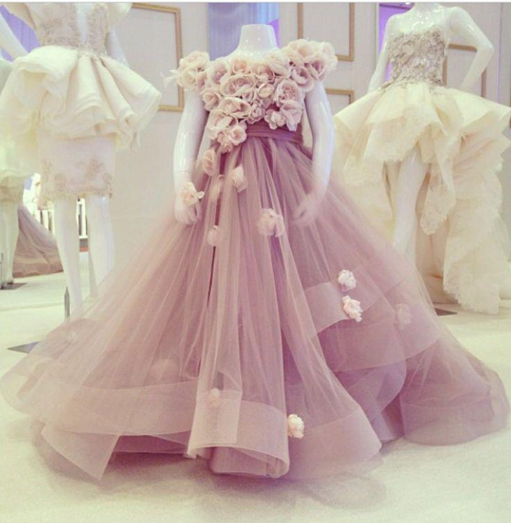Lavender 2019   Flower     Girl     Dresses   For Weddings Ball Gown Cap Sleeves Tulle   Flowers   Long First Communion   Dresses   For Little   Girls