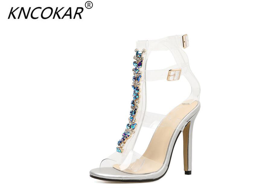 KNCOKAR  Popular hot style color diamond chain transparent high heels sexy crystal sandals for womenKNCOKAR  Popular hot style color diamond chain transparent high heels sexy crystal sandals for women